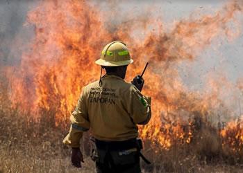 Bombero de Zapopan con radio en mano ante un incendio